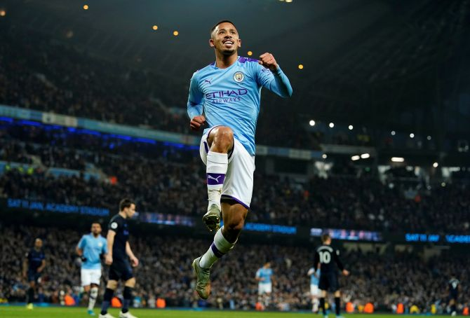 Manchester City's Gabriel Jesus celebrates scoring their second goal against Everton at the Etihad Stadium in Manchester