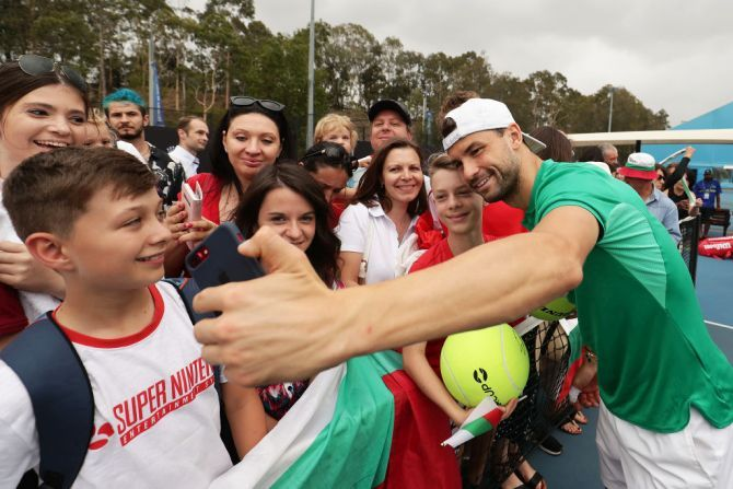 Grigor Dimitrov meets Bulgarian fans on Day 3 of the 2020 ATP Cup Group Stage at Ken Rosewall Arena in Sydney on Sunday