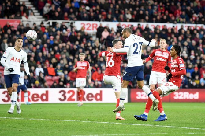 Tottenham Hotspur's Lucas Moura heads in to score the equaliser during the FA Cup third round match against Middlesbrough at Riverside Stadium in Middlesbrough on Sunday