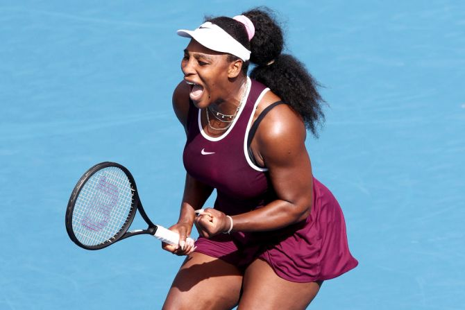 USA's Serena Williams celebrates on winning her match against compatriot Christina McHale during day four of the 2020 Women's ASB Classic at ASB Tennis Centre in Auckland, New Zealand, on Thursday