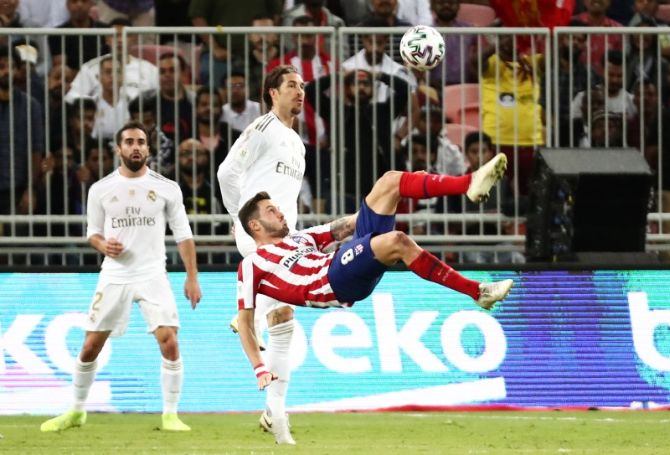 Atletico Madrid's Saul Niguez in action during the Super Cup final