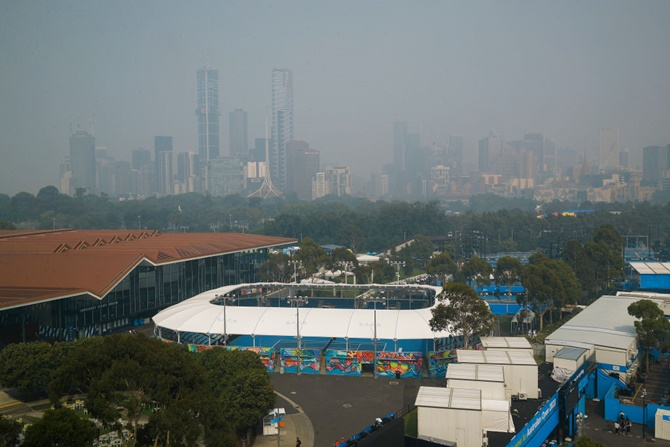 A general view of the city shrouded in smoke ahead of the 2020 Australian Open at Melbourne Park on Tuesday in Melbourne