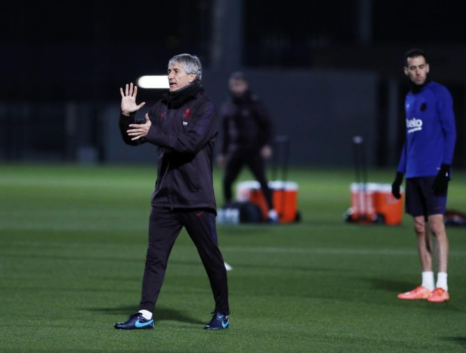 Coach Quique Setien at a FC Barcelona training session on Tuesday