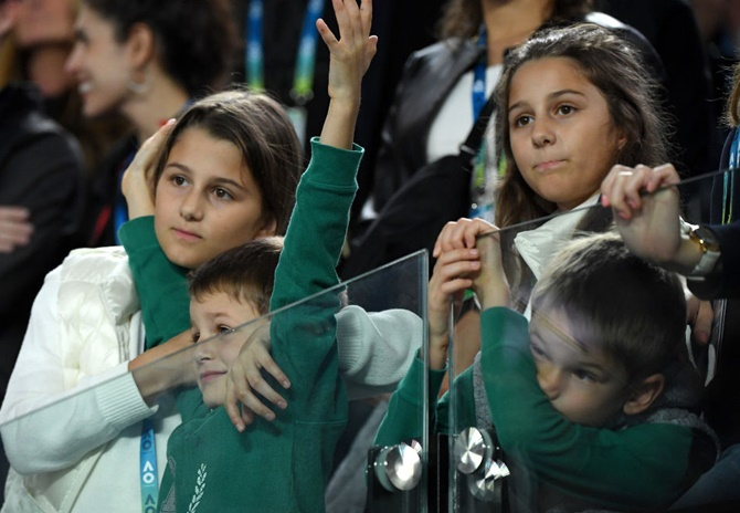 PIX: Federer's children steal the show at Aus Open