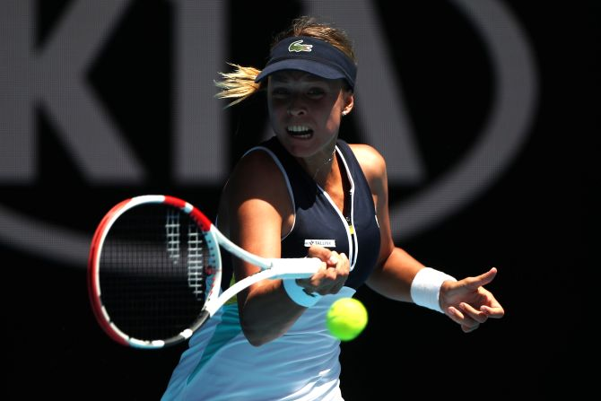 Estonia's Anett Kontaveit in action during her third round match against Switzerland's Belinda Bencic