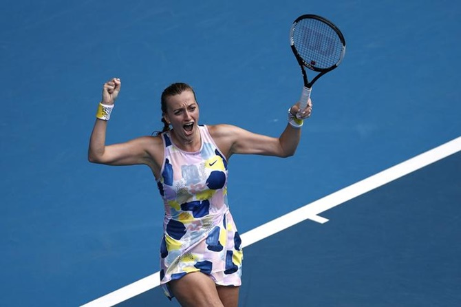 The Czech Republic's Petra Kvitova celebrates winning her fourth round match against Greece's Maria Sakkari