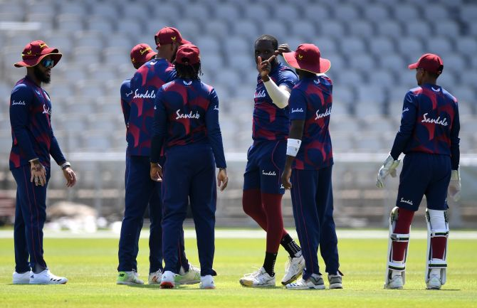 West Indies players during a practice session in Manchester, England, on Wednesday