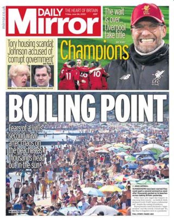 The Daily Mirror front page