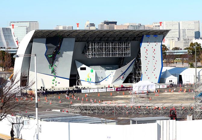 The Sports Climbing Tokyo 2020 Olympic test event at the Aomi Urban Sports Park in Tokyo, on Friday