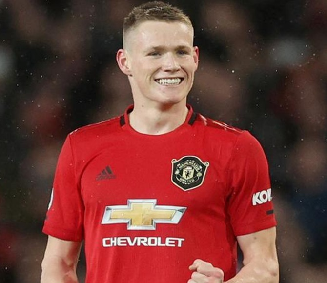 Manchester United's Scott McTominay celebrates scoring for Manchester United in added time.