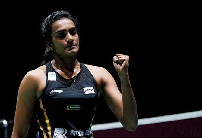 India's Pusarla Sindhu in action at the Badminton World Championships, in St. Jakobshalle Basel, Switzerland.