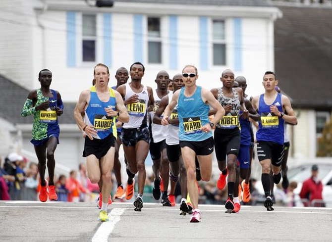The pack of elite runners during the 2019 Boston Marathon.
