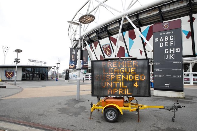 A general view outside the London Stadium as the Premier League is suspended due to the number of coronavirus cases growing around the world.