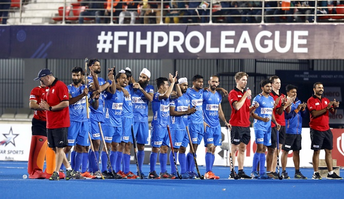 India's players watch the action during the shoot-out in the FIH Pro League match against Australia in Bhubaneswar, in February