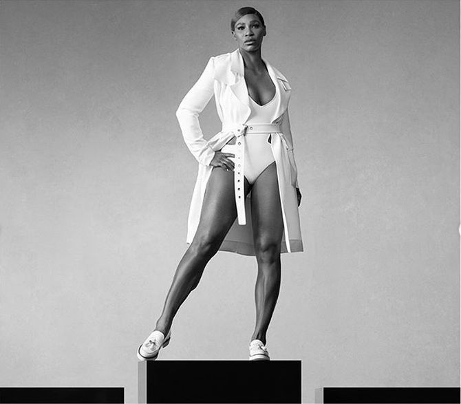 Serena Williams in a Stuart Weitzman ad shoot
