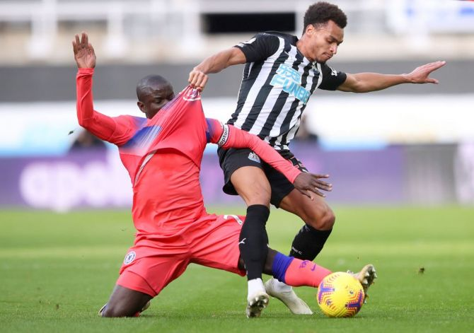 Chelsea's Ngolo Kante (left) battles for possession with Newcastle United's Jacob Murphy