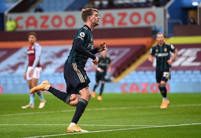 Patrick Bamford celebrates scoring Leeds United's third goal to complete his hat-trick