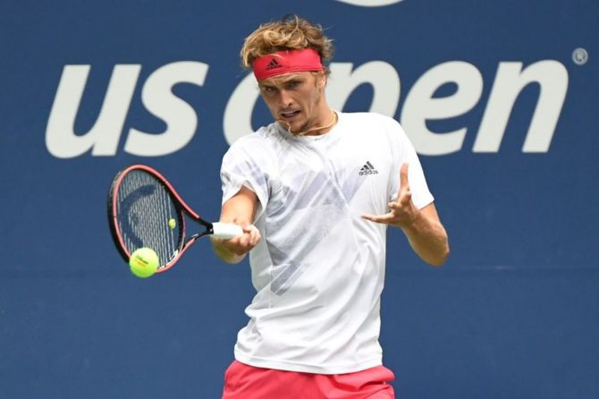 Germany's Alexander Zverev hits a forehand against South Africa's Kevin Anderson