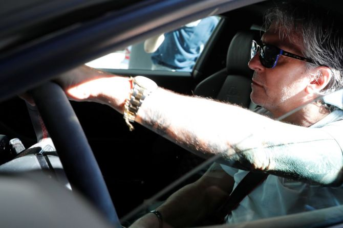Lionel Messi's father and agent Jorge Messi arrives at his lawyers' office in Barcelona on Friday