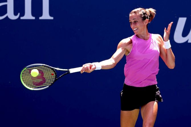 Croatia's Petra Martic plays a return during her third round match against Russia's Varvara Gracheva