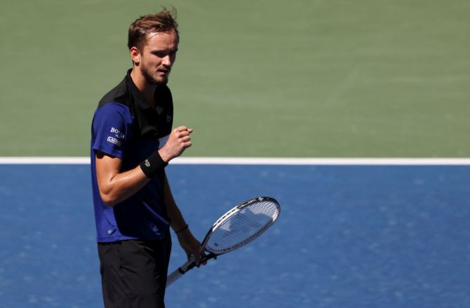 Russia's Daniil Medvedev reacts after winning a point during his third round match against USA's JJ Wolf