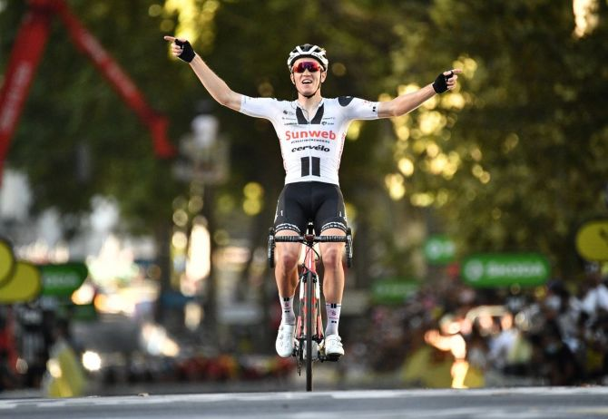 Team Sunweb's Danish rider Soren Kragh Andersen crosses the finish line at Stage 14 -- Clermont-Ferrand to Lyon in France on Saturday