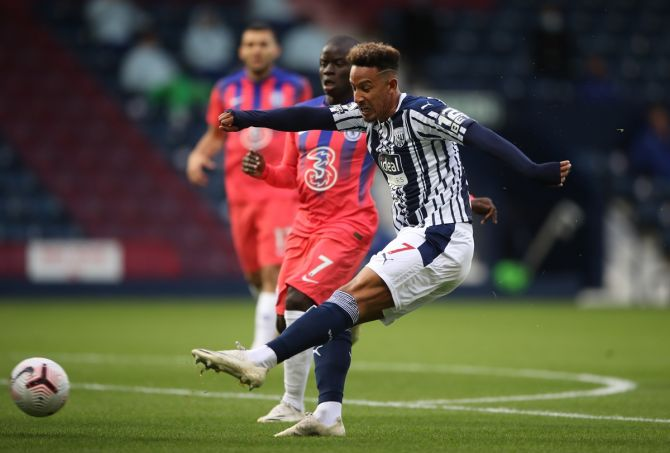 Callum Robinson scores West Bromwich Albion's first goal.