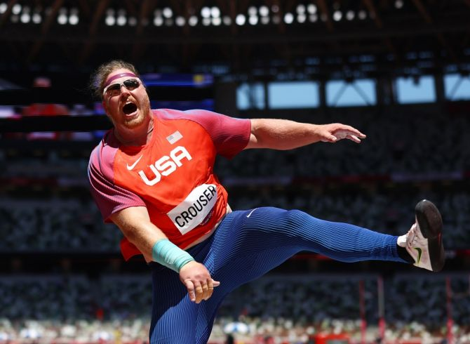 Ryan Crouser of the United States in action during the men's Shot Put final.