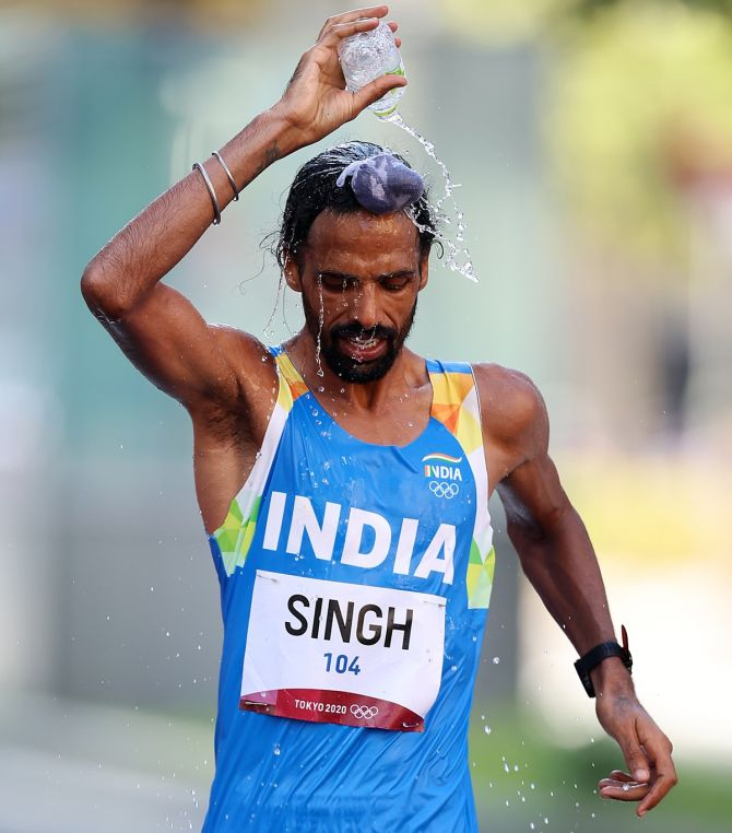 India's Gurpreet Singh competes in the Olympics men's 50km Race Walk final, at Sapporo Odori Park in Sapporo, Japan, on Thursday.