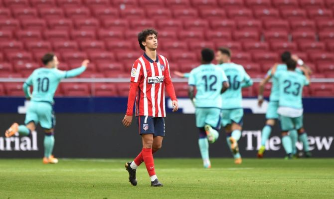 Atletico de Madrid's Joao Felix reacts after conceding their side's first goal during their La Liga Santander match against Levante UD at Estadio Wanda Metropolitano in Madrid on Saturday