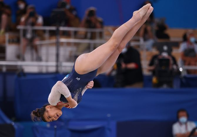 Sunisa Lee during the floor exercise