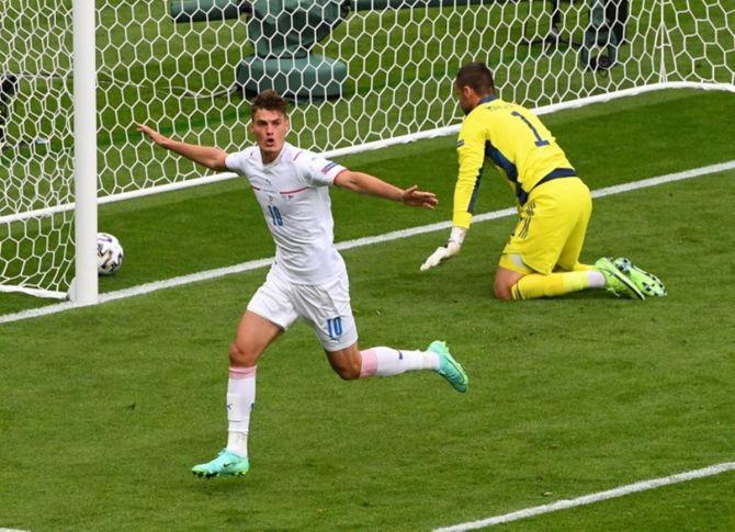 Czech Republic's Patrik Schick celebrates scoring.