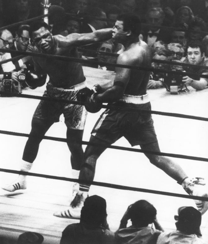 The World Heavyweight title fight between Joe Frazier (left) and Muhammad Ali at Madison Square Garden, New York City, 8th March 1971.